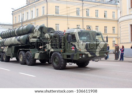 MOSCOW-MAY 9: Anti-aircraft missile system C-400 at the annual dress rehearsal of the Victory Day Parade on May 6, 2012 in Moscow - stock photo
