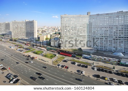 MOSCOW - MAY 10: Cars at New Arbat Street, on May 10, 2013 in Moscow, Russia. Length of street is 1.5 km.