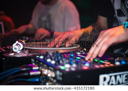 MOSCOW - 21 MAY, 2016 : DMC World DJ event at Yotaspace nightclub. Headliner was the 2002 World Champion DJ Kentaro from Japan - stock photo