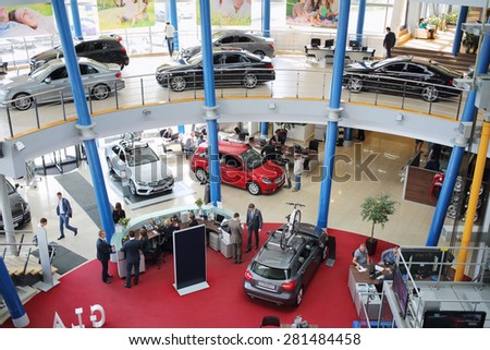 MOSCOW - MAY 14, 2014: Exhibition of cars in dealership Mercedes-Benz Avilon in Moscow - stock photo