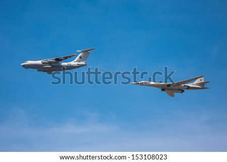 MOSCOW - MAY 09: Il-78 air tanker and Tu-160 strategic bomber imitate mid-air refueling during the parade in honor of WWII Victory on May 09, 2013 in Moscow, Russia