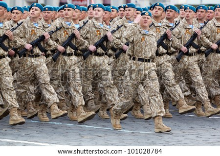 MOSCOW - MAY 9: Marching column of airborne forces in parade on Red Square on celebration of 66-th anniversary of Victory in Great Patriotic War, May 9, 2011, Moscow, Russia. - stock photo