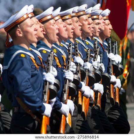 MOSCOW - MAY 7: Military participate at last rehearsal of the parade dedicated to the 70th anniversary of the victory in the Second World War in Red Square on May 7, 2015 in Moscow