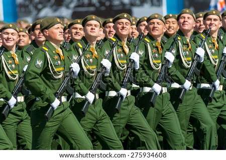 MOSCOW - MAY 7: Military participate at last rehearsal of the parade dedicated to the 70th anniversary of the victory in the Second World War in Red Square on May 7, 2015 in Moscow - stock photo