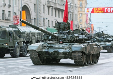 MOSCOW - MAY 5: Military vehicles are going to pass on Red Square, on May 5, 2010 in Moscow. The rehearsal is to celebrate the upcoming 65th Anniversary of Victory Day (WWII) on May 9th.