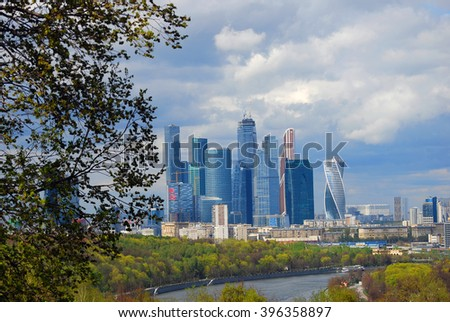MOSCOW - MAY 04, 2015: Moscow City business center. Popular landmark.