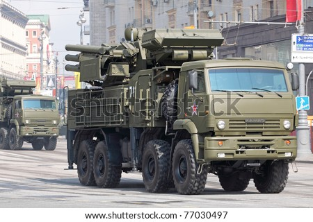 MOSCOW - MAY 07: Pantsir-S1 at full rehearsal of the 66th Anniversary of Victory Day (WWII) parade at Red Square on May 7, 2011 in Moscow, Russia. The event will be held on May 9, 2011.