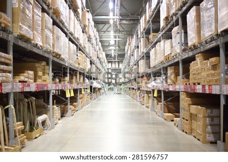 MOSCOW - MAY 21, 2014: Place the products in the self-service stock in shopping center Ikea in Moscow