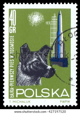 MOSCOW, May 24, 2016: POLAND - CIRCA 1963: stamp printed in Poland,shows the dog Laika, the first dog to go into space - stock photo