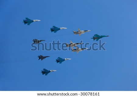 MOSCOW - MAY 9 : Russian Air Force fighters (Su-34, Su-24, Su-27 and MiG-29) at a Moscow Victory Parade May 9, 2009 in Moscow.