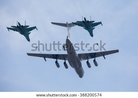 MOSCOW - MAY 9: Russian army military jets during military parade for the Victory Day which take place at Moscow's Red Square. The aircraft tanker Ilyushin Il-78 and bombers Sukhoi Su-34