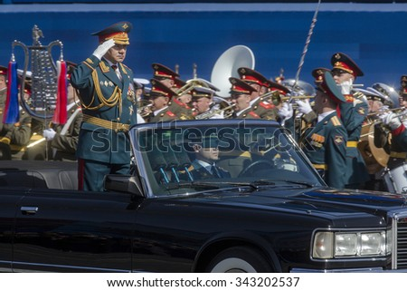 MOSCOW,07 MAY,2015: Russian defense Minister, Army General Sergei Shoigu rides in a limo at the Red Square in Moscow during the final rehearsal of the military parade to mark the Victory day