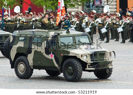 "MOSCOW - 6 MAY : Russian GAZ-233014 ""Tiger"" in rehearsal during 65th anniversary of Victory in Great Patriotic War Military Parade at Red Square  on May 6, 2010 in Moscow, Russia - stock photo"