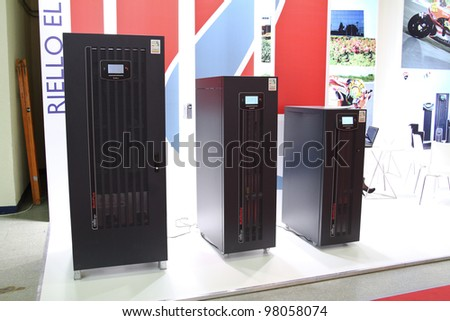 MOSCOW-MAY 11: Telecommunication, server rack at the international exhibition of the telecommunications industry Sviaz-Expocomm on May 11, 2011 in Moscow - stock photo