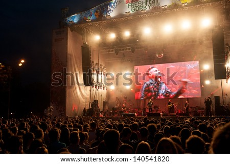 MOSCOW - MAY 25: Tesla Boy group performs at Bosco Fresh Fest in Gorky Park on May 25, 2013 in Moscow. The mission of this festival is to find new talent and releasing them on the big stage - stock photo