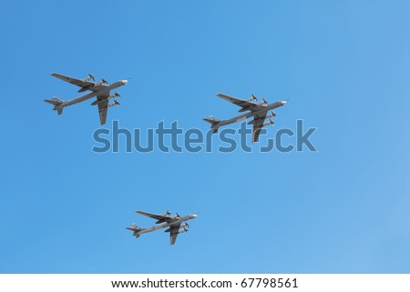 MOSCOW - MAY 9: Tu-95ms planes on parade in honor of Great Patriotic War victory on May 9, 2010 in Moscow, Russia. This War is portion of WW II from June 22, 1941 to May 9, 1945