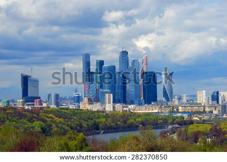 MOSCOW - MAY 04, 2015: View of Moscow City (Moskva City) Business Center in Moscow. Popular touristic landmark.