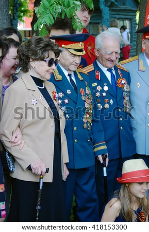 MOSCOW - MAY 09, 2016: War veterans. Victory Day celebration in Gorky park in Moscow.