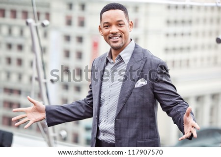 MOSCOW - MAY 18: Will Smith attends the photo call 'Men in black 3' during the premiere of this film on May 18, 2012 in Ritz Carlton Hotel, Moscow, Russia - stock photo