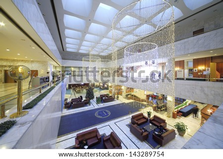 MOSCOW - NOV 21: Interior in lobby of the President Hotel, on Nov 21, 2012 in Moscow, Russia. - stock photo