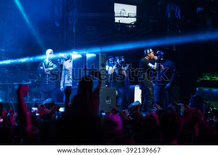 MOSCOW - 22 NOVEMBER, 2014 : American rap singer Tyga performing at Space Moscow nightclub in Russia