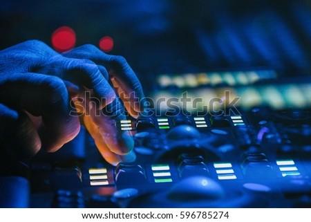 lighting technician. moscow 30 november2016 concert stage lighting controller panelstage lights technician t