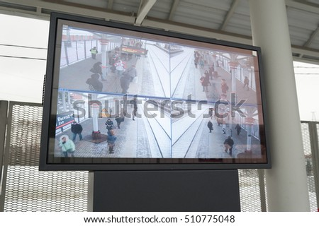 "MOSCOW - NOVEMBER 1: Electronic display at ""Vladykino"" station of Moscow Central Circle (MCC) on November 1, 2016 in Moscow. MCC was opened to passengers on 10 September 2016."