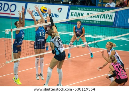 MOSCOW - NOVEMBER 2, 2016: Olga Biryukova (19) on game Dynamo Moscow vs Dynamo Kazan on Russian National women Volleyball tournament on November 2, in Moscow, Russia, 2016