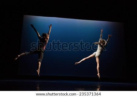 "MOSCOW - NOVEMBER, 29: Rehearsal. Festival of  Contemporary choreography ""Context. Diana Vishneva"" at The Theatre of Mossovet. November 29, 2014 in Moscow, Russia - stock photo"
