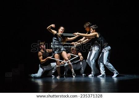 "MOSCOW - NOVEMBER, 29: Tue. Rehearsal. Festival of  Contemporary choreography ""Context. Diana Vishneva"" at The Theatre of Mossovet. November 29, 2014 in Moscow, Russia - stock photo"