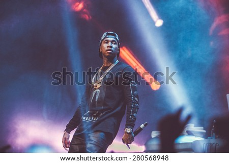 MOSCOW - 22 NOVEMBER, 2014 : Tyga performing live at Space Moscow nightclub in Russia - stock photo