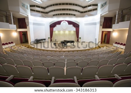 MOSCOW, 13 NOVEMBER, 2015: View of the stage of the concert hall at the Central Music School at the Moscow State Conservatory Tchaikovsky in Moscow, Russia