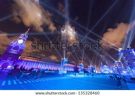 MOSCOW - OCT 21: Beautiful illumination show on Festival Circle of light at Red Square on October 21, 2011 in Moscow, Russia.
