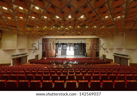 MOSCOW - OCT 18: Before open rehearsal of musical Treasure Island in Large Concert Hall Izmailovo on Oct 18, 2012 in Moscow, Rusiia. Izmailovo concert hall was built in 1980 to the Moscow Olympics.