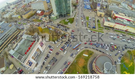 MOSCOW - OCT 21: Cinema Rodina and Shopping center Semenovskiy near road junction on October 21, 2013 in Moscow, Russia.