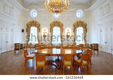 MOSCOW - OCT 10: Luxury living room Interior in the Petroff Palace, on October 10, 2013 in Moscow, Russia. Palace was built in the 18th century - stock photo