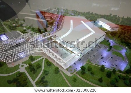 MOSCOW - OCT 30, 2014: Model of multi-level parking closeup at exhibition city transport ExpoCityTrans 2014 - stock photo