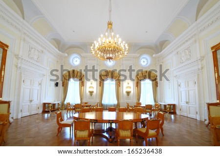 MOSCOW - OCT 10: Seating area in the Petroff Palace, on October 10, 2013 in Moscow, Russia. - stock photo