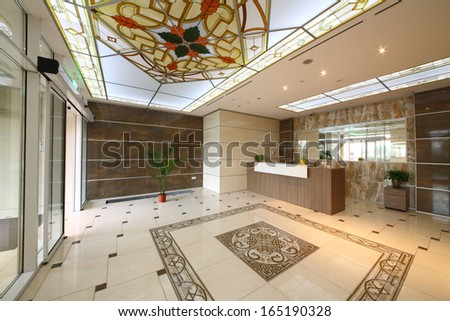 MOSCOW - OCT 11: The elegant front with stained glass ceilings and ceramic granite floor and walls in the apartment complex Dubrovskaya Sloboda, on October 11, 2013 in Moscow, Russia.