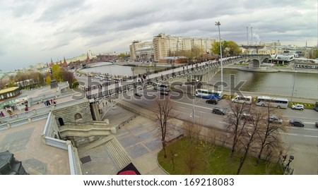 MOSCOW - OCT 20: View from unmanned quadrocopter to Patriarshy Bridge crossed the Moscow River and car road on October 20, 2013 in Moscow, Russia.