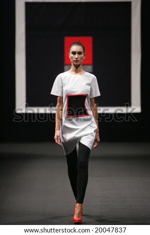 MOSCOW - OCTOBER 27: A model displays a creation by Natasha Drigant during Moscow Fashion Week October 27, 2008 in Moscow, Russia.