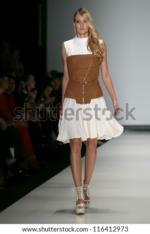MOSCOW - OCTOBER 18: A model displays a creation by Russian designer Dasha Gauser, during Moscow, Mercedes-Benz Fashion Week on October 18, 2012 in Moscow, Russia.