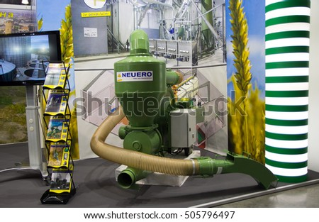 MOSCOW- OCTOBER 05, 2016: Agricultural machines at the International Trade Fair AGROSALON, Crocus Expo, grain dryer
