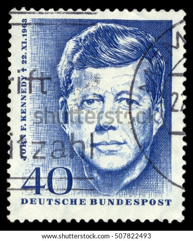 MOSCOW, October 25, 2016: GERMANY - CIRCA 1963: Postage stamp printed in Germany , shows John F. Kennedy, 35th President of USA 1961-1963, circa 1963