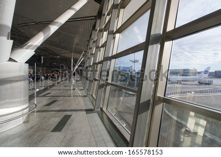 MOSCOW - OCTOBER 20: Interior of airport Vnukovo October 20, 2013 in Moscow, Russia. Vnukovo has the largest airport terminal in Russia and the oldest of Moscow's operating airports