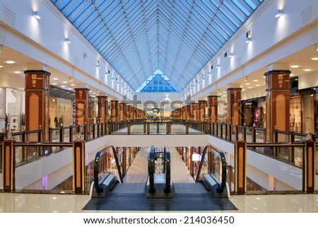 Moscow,October 26: Interior of modern shopping center, Shopping center  Moscow, Russian Federation, October 26. 2012. - stock photo