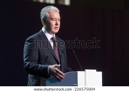 MOSCOW - OCTOBER 15: Moscow Mayor S. Sobyanin during First Moscow International Forum - Culture. Look into the future on October 15, 2014 in Moscow, Russia. - stock photo
