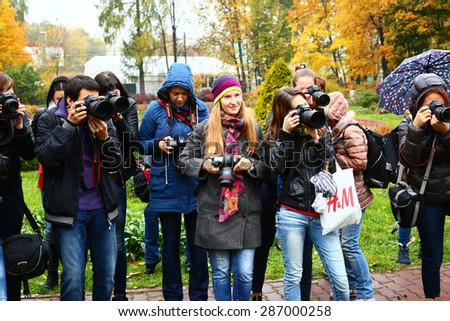 MOSCOW, OCTOBER 26, 2015: Outdoor workshop for photographers in autumn park in Moscow, October 26, 2015.