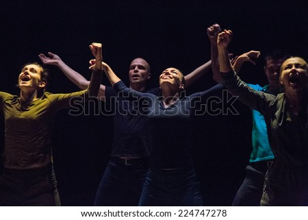 MOSCOW - OCTOBER, 1: Performance My anomaly. International Festival-School Territoria at The Theatre of Nations. October 1, 2014 in Moscow, Russia - stock photo