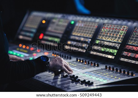 lighting technician. MOSCOW-6 OCTOBER,2016:Professional Concert Lighting Technician Control The Show In Night